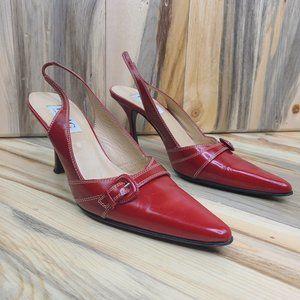 Isaac Mizraho Red Leather Slingback Heels